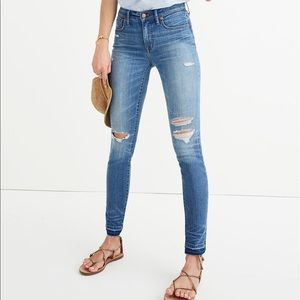 Madewell 10-inch high rise drop hem skinny jeans